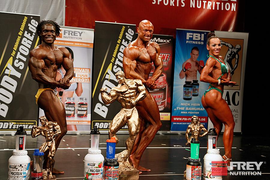 Die Gesamtsieger: Alis Djekoudje (Athletik), Markus Rohde (Body), Bärbel Bach (Figur)
